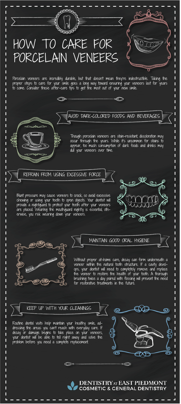 how to care for porcelain veneers infographic