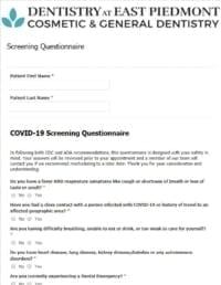 covid prescreening form